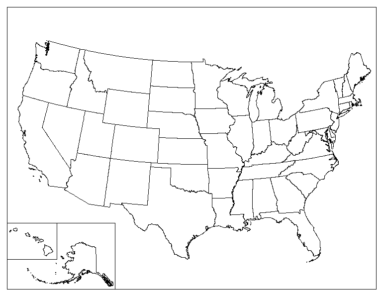 Us Blank Map Globalinterco - Us political map quiz