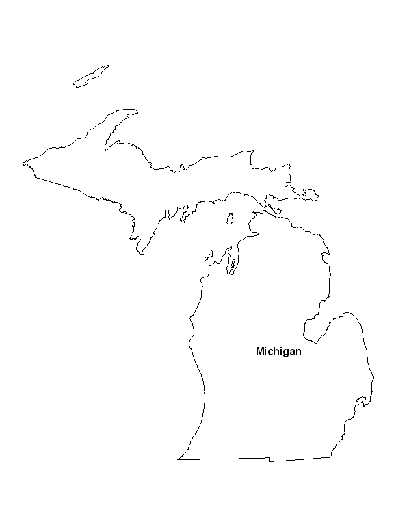 Printable Map Of The State Of Michigan EPrintableCalendarscom - State of state of michigan on a us map